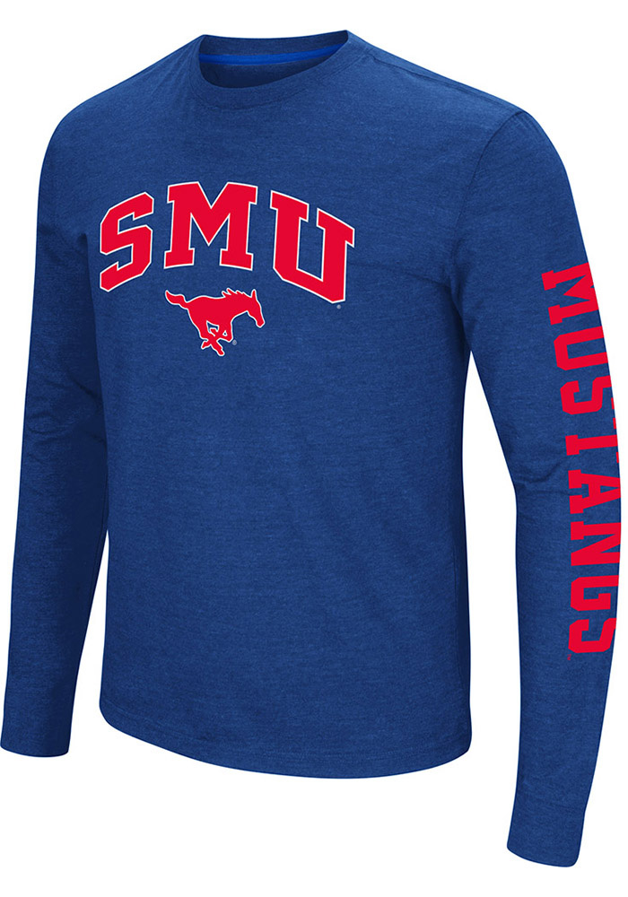 Colosseum SMU Mustangs Blue Jackson Long Sleeve T Shirt - Image 1