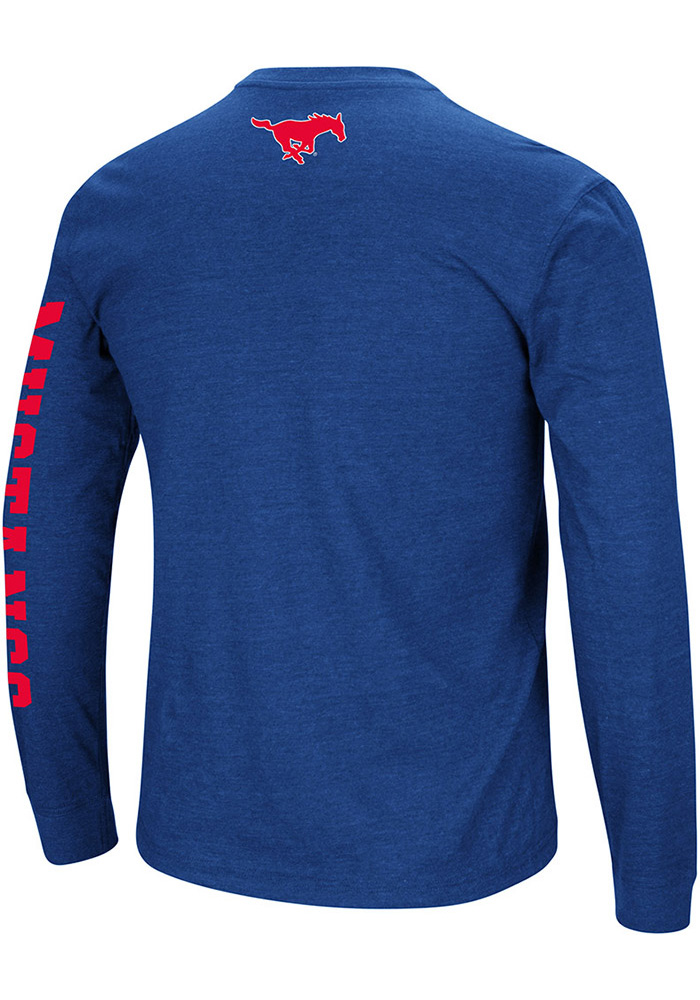 Colosseum SMU Mustangs Blue Jackson Long Sleeve T Shirt - Image 2