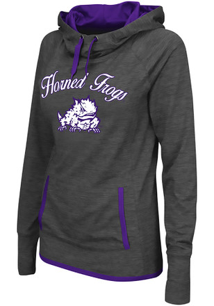 Colosseum TCU Horned Frogs Womens Grey Buggin' Cowl Hoodie