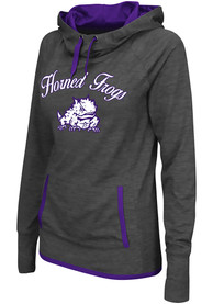 TCU Horned Frogs Womens Colosseum Buggin Cowl Hooded Sweatshirt - Charcoal