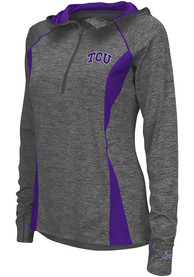 TCU Horned Frogs Womens Colosseum Monet 1/4 Zip Pullover - Charcoal