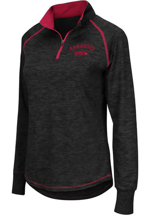 Colosseum Arkansas Razorbacks Womens Bikram Grey 1/4 Zip Pullover