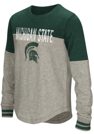 Colosseum Michigan State Spartans Girls Green Baton Long Sleeve T-shirt