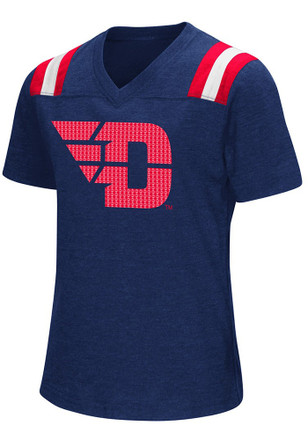 Colosseum Dayton Flyers Girls Navy Blue Rugby Fashion T-Shirt