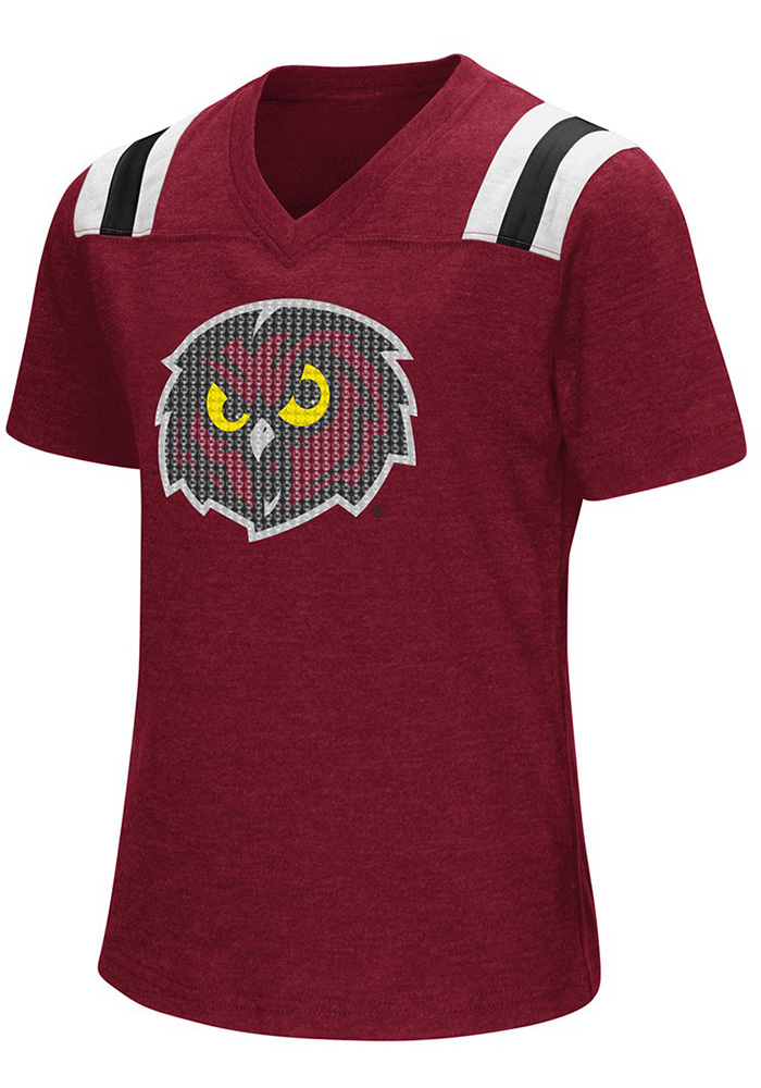 Colosseum Temple Owls Girls Cardinal Rugby Short Sleeve Fashion T-Shirt - Image 1