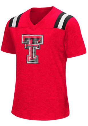 Colosseum Texas Tech Red Raiders Girls Red Rugby Fashion T-Shirt