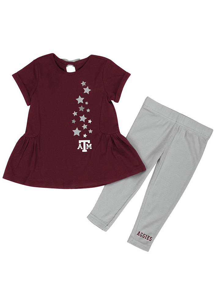 Colosseum Texas A&M Aggies Infant Girls Maroon Shot Put Set Top and Bottom - Image 1