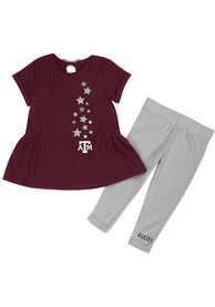 Texas A&M Aggies Infant Girls Colosseum Shot Put Top and Bottom - Maroon
