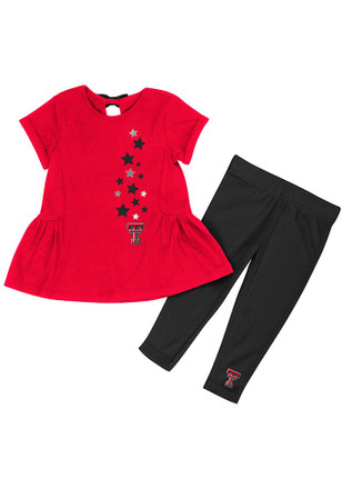 Colosseum Texas Tech Red Raiders Toddler Girls Red Shot Put Top and Bottom
