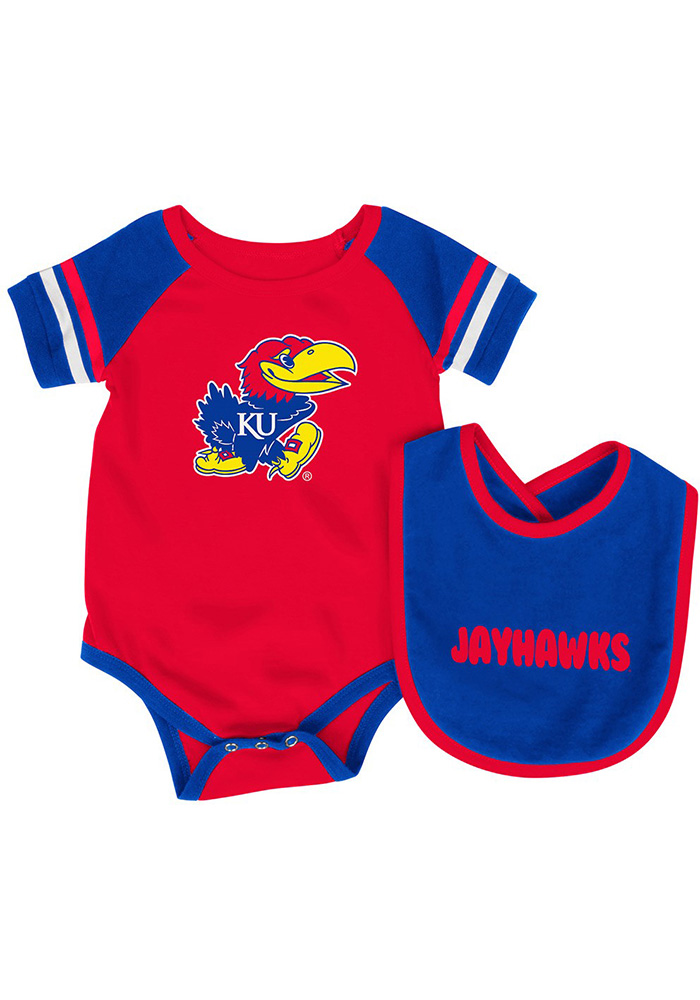 Colosseum Kansas Jayhawks Baby Blue Roll Out Set One Piece with Bib - Image 1