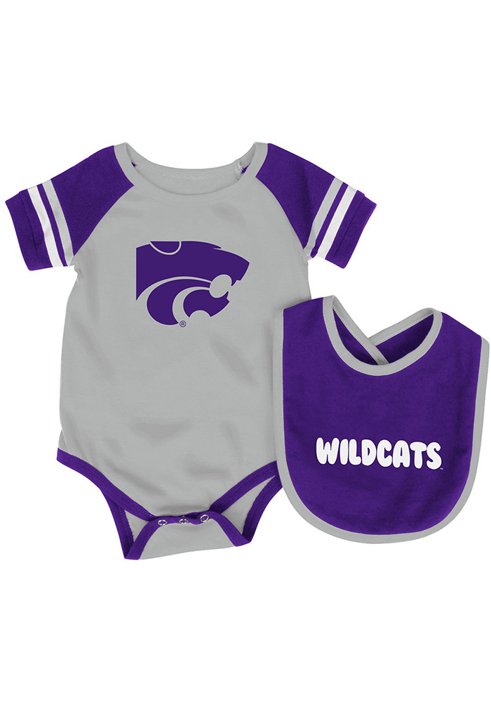 Colosseum K-State Wildcats Baby Purple Roll Out Set One Piece with Bib - Image 1