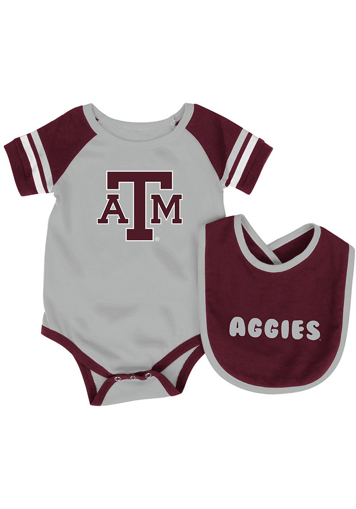 Colosseum Texas A&M Aggies Baby Maroon Roll Out Set One Piece with Bib - Image 1