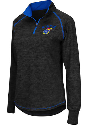 Colosseum Kansas Jayhawks Womens Bikram Grey 1/4 Zip Pullover