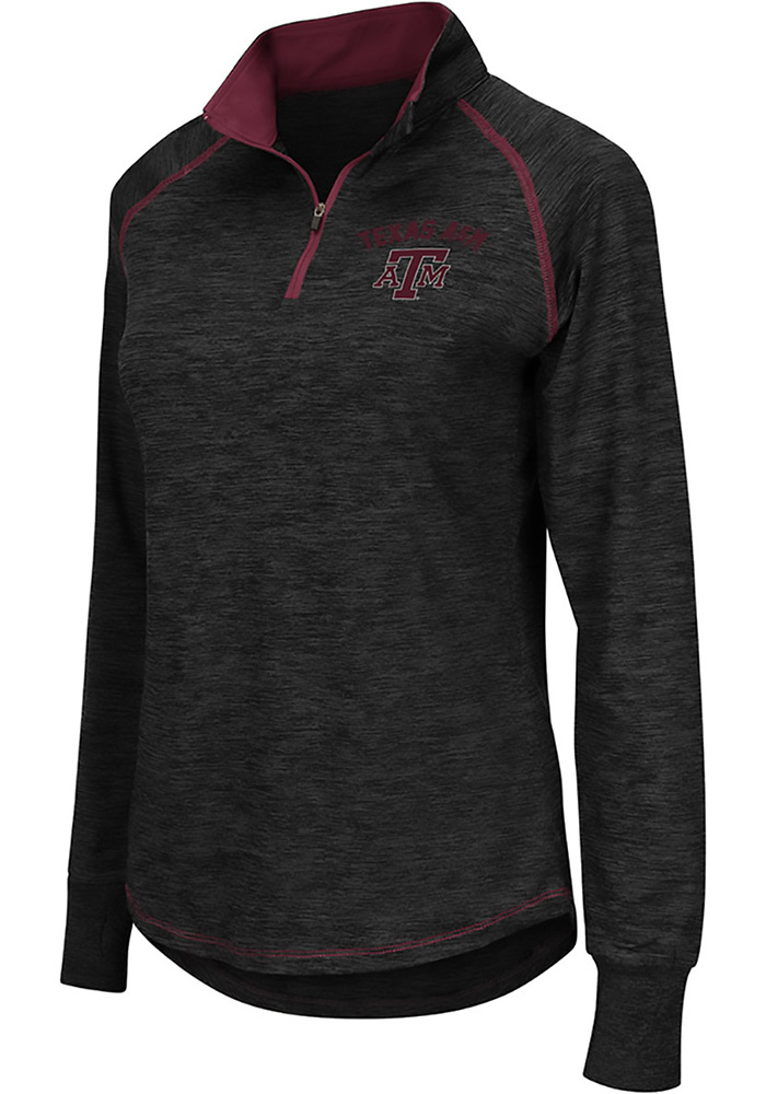 Colosseum Texas A&M Womens Charcoal Bikram 1/4 Zip Pullover - Image 1