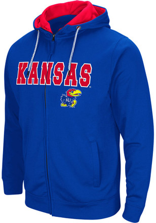 Colosseum Kansas Jayhawks Mens Blue Classic Full Zip Jacket