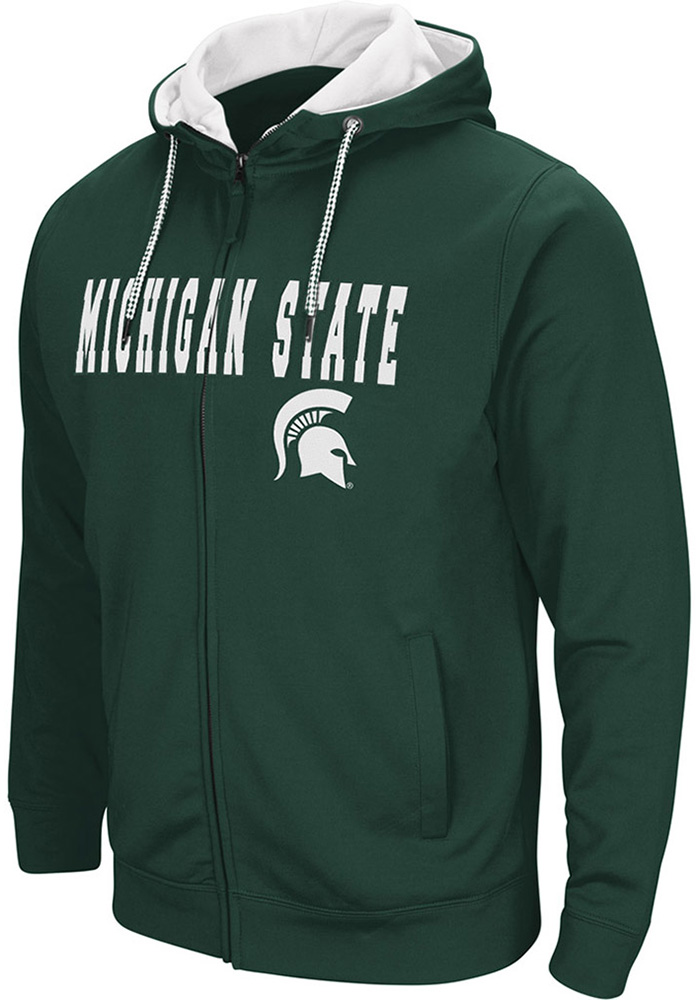 Colosseum Michigan State Spartans Mens Green Classic Long Sleeve Full Zip Jacket - Image 1