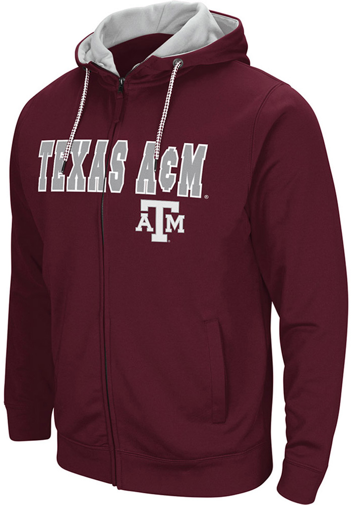 Colosseum Texas A&M Aggies Mens Maroon Classic Long Sleeve Full Zip Jacket - Image 1