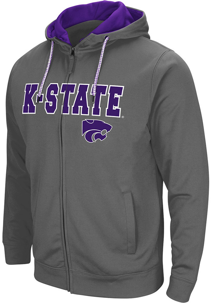 Colosseum K-State Wildcats Mens Grey Classic Long Sleeve Full Zip Jacket - Image 1