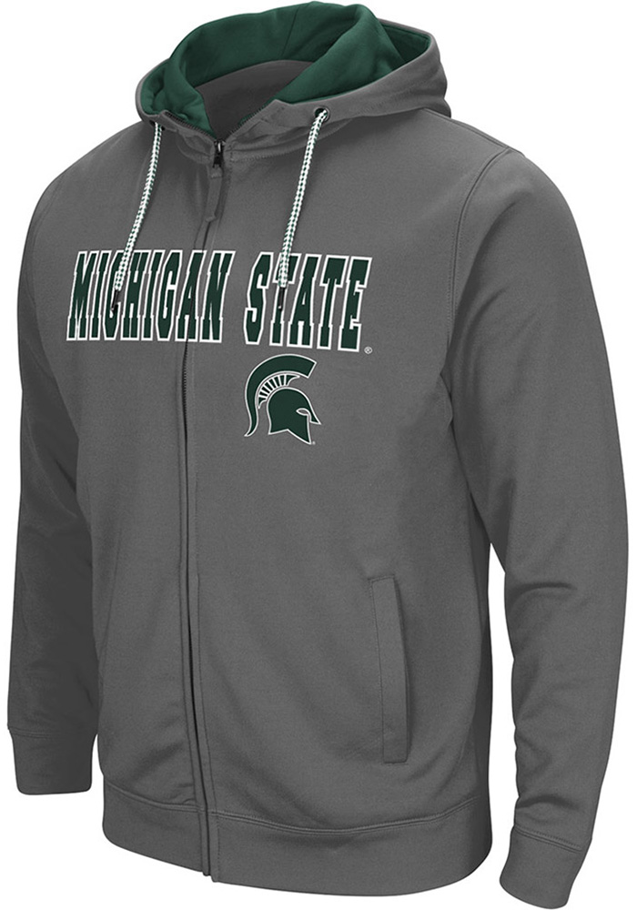 Colosseum Michigan State Spartans Mens Charcoal Classic Long Sleeve Full Zip Jacket - Image 1