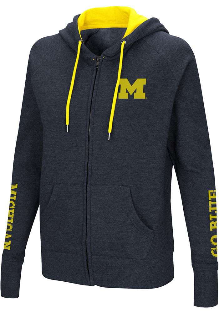 Colosseum Michigan Wolverines Womens Navy Blue Contract Long Sleeve Full Zip Jacket - Image 1