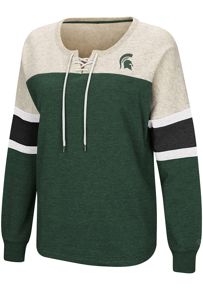 Colosseum Michigan State Spartans Womens Green Become Great Crew Sweatshirt - Image 1