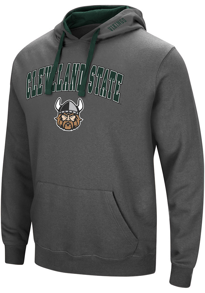 Colosseum Cleveland State Vikings Mens Grey Manning Long Sleeve Hoodie - Image 1