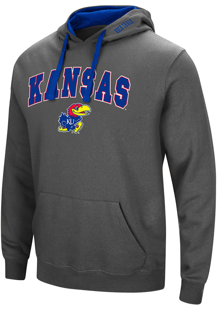 Colosseum Kansas Jayhawks Mens Charcoal Manning Long Sleeve Hoodie - Image 1