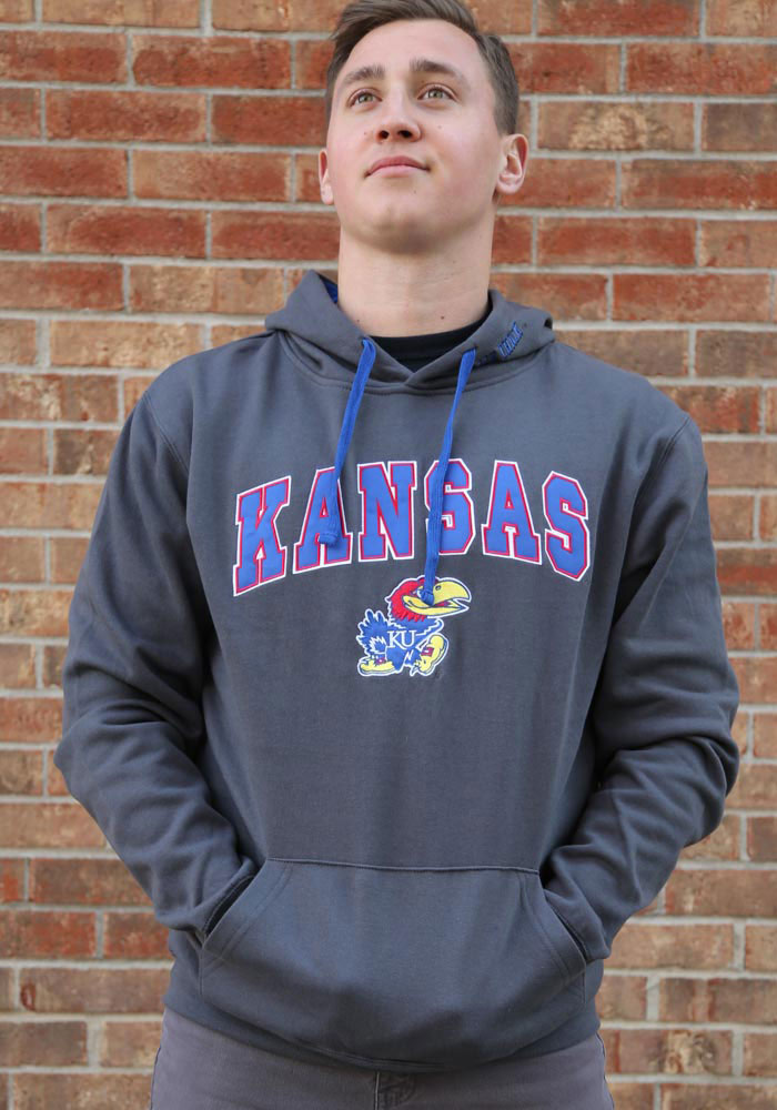 Colosseum Kansas Jayhawks Mens Charcoal Manning Long Sleeve Hoodie - Image 2