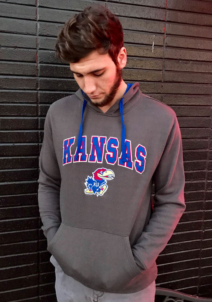 Colosseum Kansas Jayhawks Mens Charcoal Manning Long Sleeve Hoodie - Image 3