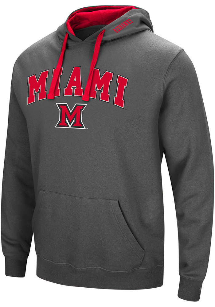 Colosseum Miami Redhawks Mens Grey Manning Long Sleeve Hoodie - Image 1
