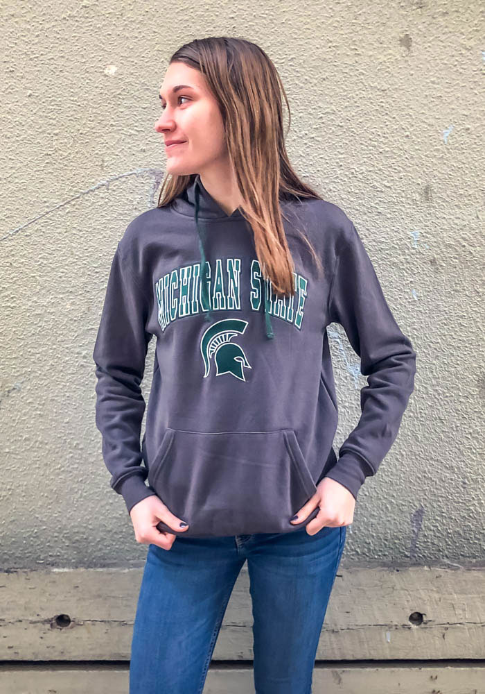 Colosseum Michigan State Spartans Mens Grey Manning Long Sleeve Hoodie - Image 2