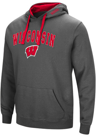 Colosseum Wisconsin Badgers Mens Grey Manning Hoodie