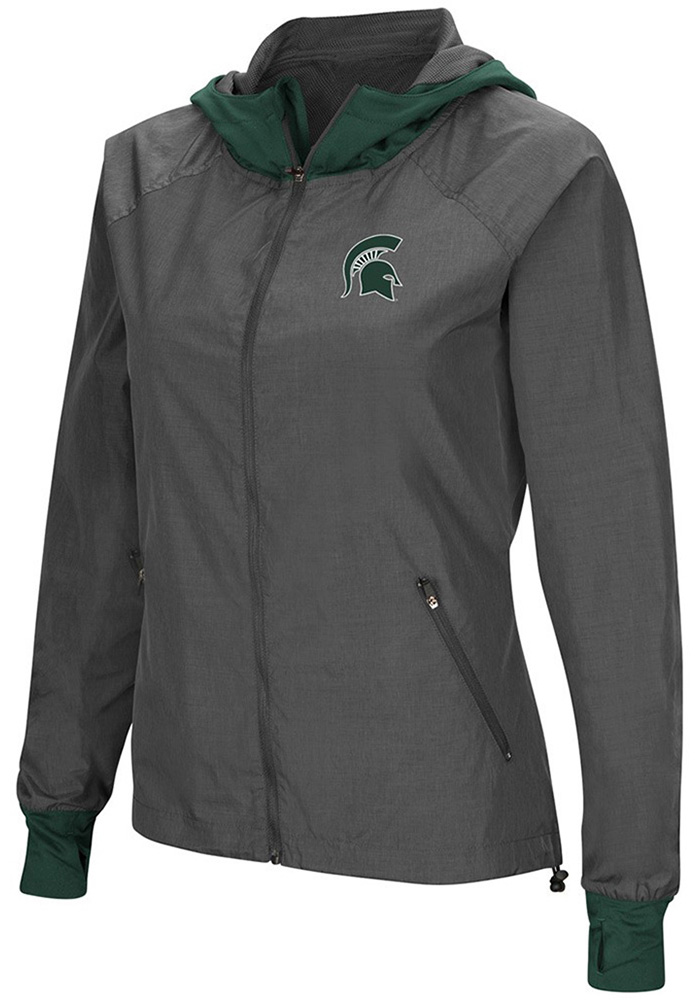 Colosseum Michigan State Spartans Womens Grey Backside Light Weight Jacket - Image 1