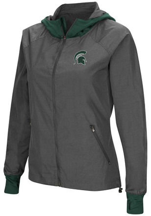 Colosseum Michigan State Spartans Womens Grey Backside Light Weight Jacket