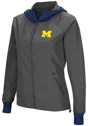 Colosseum Michigan Wolverines Womens Grey Backside Light Weight Jacket