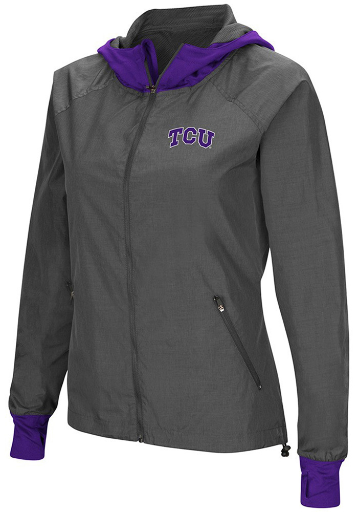 Colosseum TCU Horned Frogs Womens Grey Backside Light Weight Jacket - Image 1