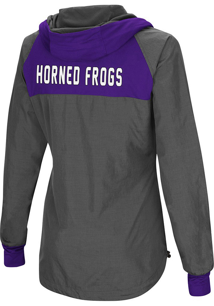 Colosseum TCU Horned Frogs Womens Grey Backside Light Weight Jacket - Image 2