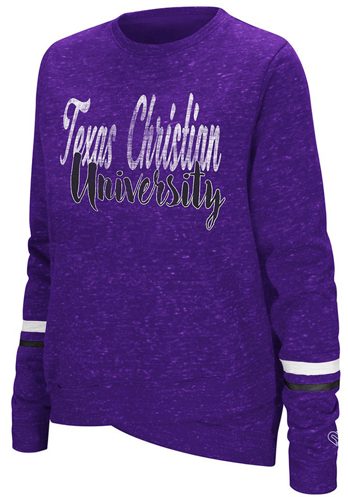 Colosseum TCU Horned Frogs Womens Purple Birdie Crew Sweatshirt - Image 1