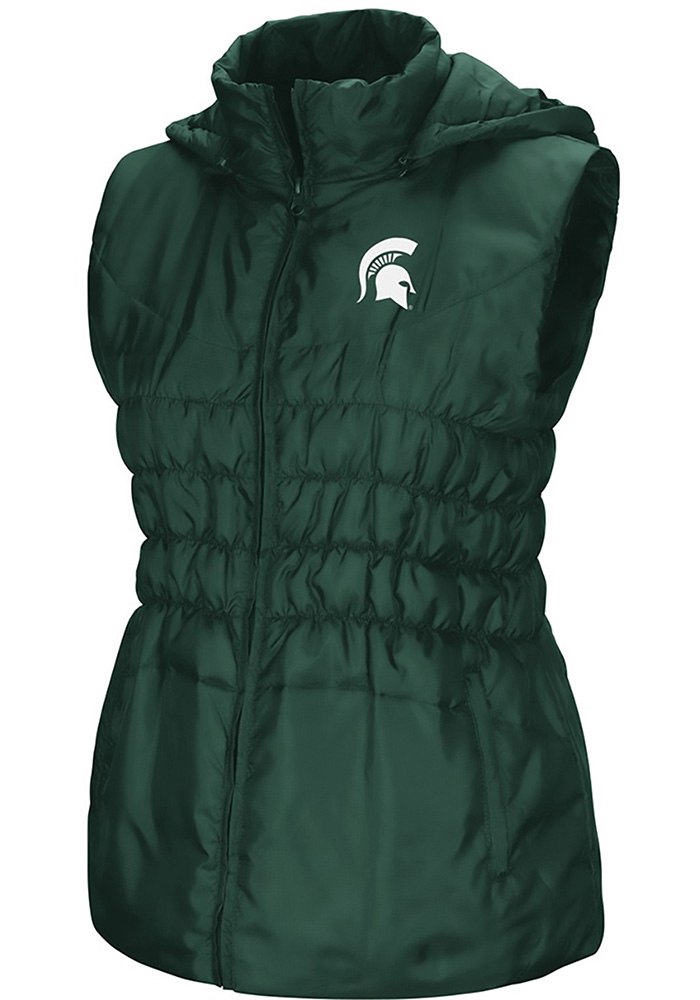 Colosseum Michigan State Spartans Womens Green Discus Puff Vest - Image 1
