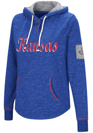 Colosseum Kansas Jayhawks Womens Blue Double Double Hoodie