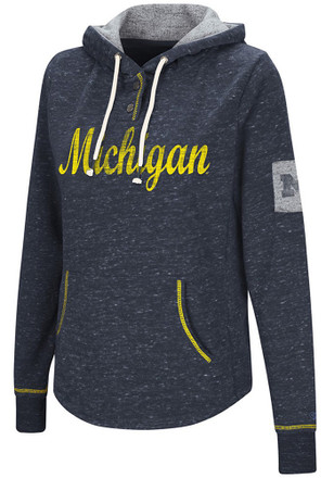 Colosseum Michigan Wolverines Womens Navy Blue Double Double Hoodie