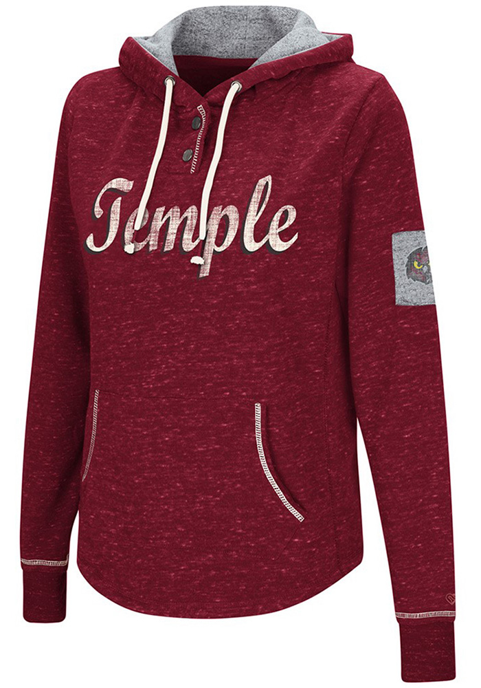 Colosseum Temple Owls Womens Cardinal Double Double Hoodie