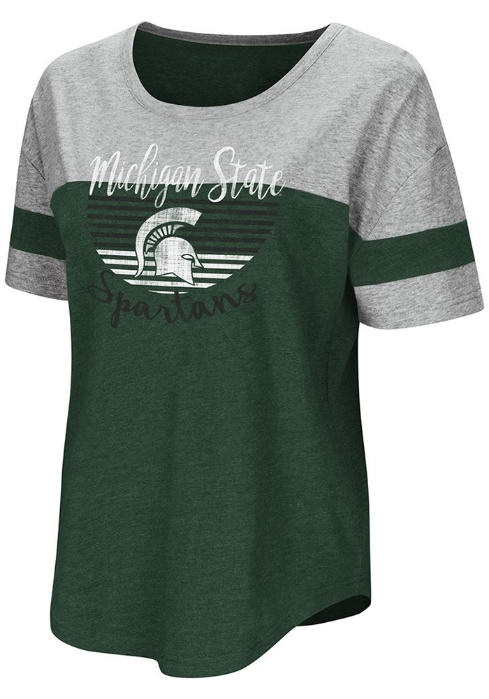 Colosseum Michigan State Spartans Womens Green Goofy Foot Short Sleeve T-Shirt - Image 1