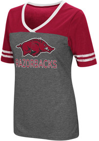 Colosseum Arkansas Razorbacks Womens Grey McTwist V-Neck
