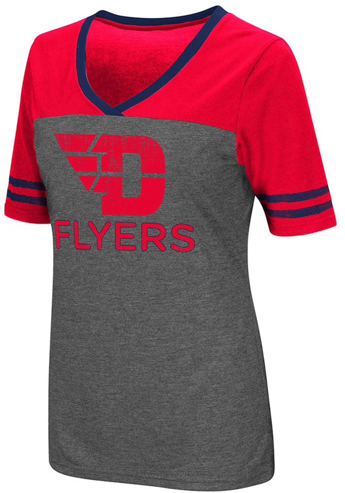 Colosseum Dayton Flyers Womens Grey McTwist V-Neck T-Shirt - Image 1