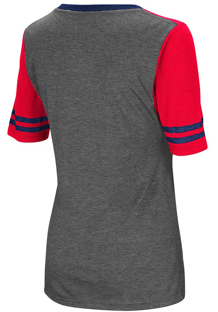 Colosseum Dayton Flyers Womens Grey McTwist V-Neck T-Shirt - Image 2