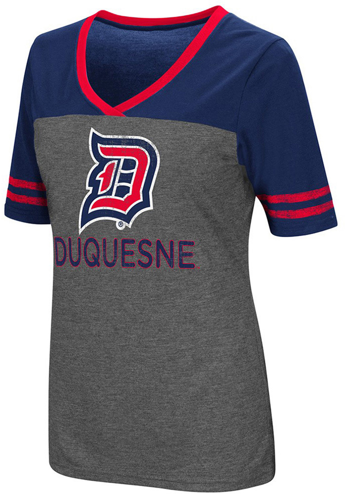 Colosseum Duquesne Dukes Womens Grey McTwist V-Neck