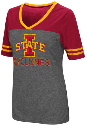 Colosseum Iowa State Cyclones Womens Grey McTwist V-Neck