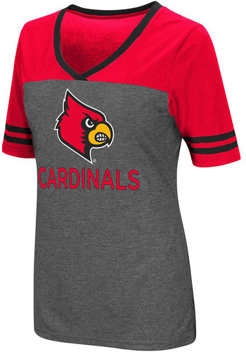 Colosseum louisville cardinals womens grey mctwist v neck for Louisville t shirt printing