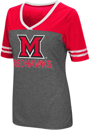 Colosseum Miami Redhawks Womens Grey McTwist V-Neck